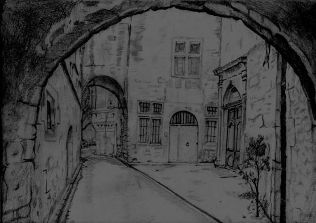 Vieux quartiers - Dessin sombre ...