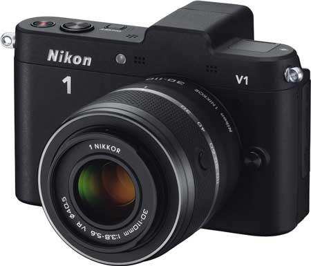 Nikon 1 V1 noir avec 1 Nikkor VR 30-110 mm f/3.8-5.6