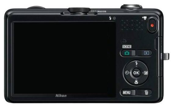 le Nikon Coolpix S1200pj noir de dos