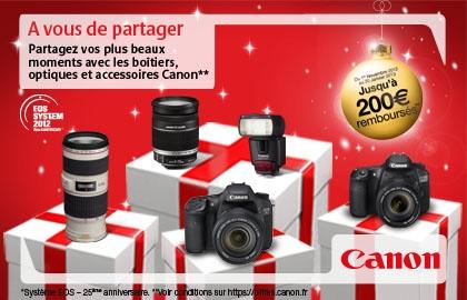 Remboursement jusqu'à 200€ sur certains reflex, objectifs et accessoires Canon