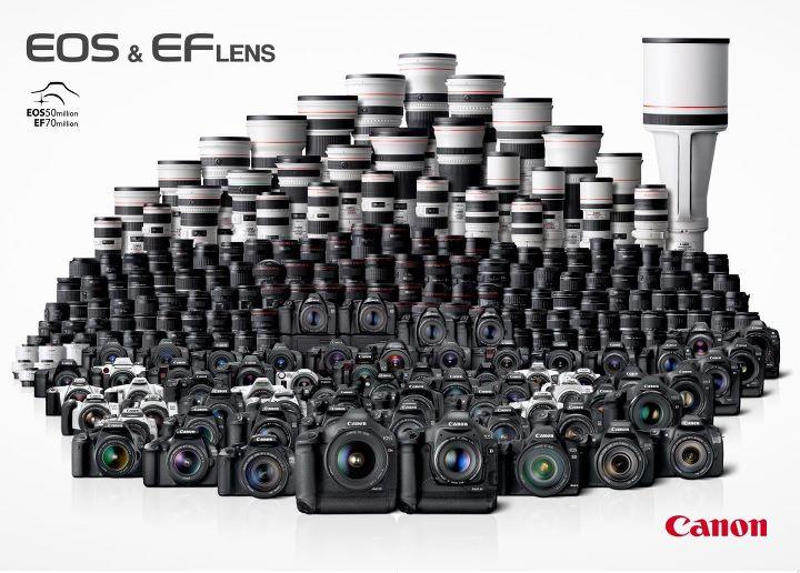 Photo de famille pour les 25 ans de la gamme EOS de Canon