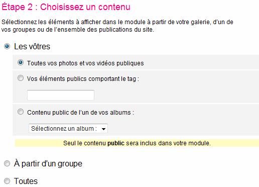 Aperçu de la 2ème étape de création d'un badge sur Flickr : Choisissez un contenu