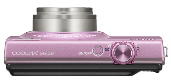 le Nikon Coolpix S6150 rose de haut