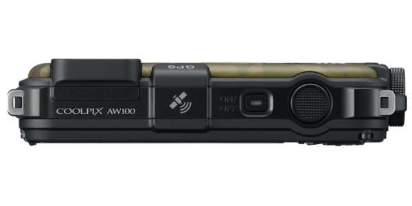 le Nikon Coolpix AW100 kaki de haut