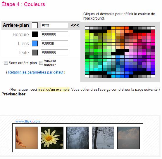 Aperçu de la 4ème étape de création d'un badge sur Flickr : Couleurs