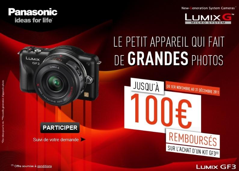 Remboursement jusqu'à 100€ sur le Panasonic Lumix DMC-GF3