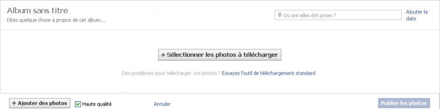 Formulaire pour ajouter de nouvelles photos sur une page Facebook