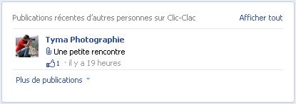 Aperçu d'une de mes photos sur le mur de la page Facebook de Clic-Clac