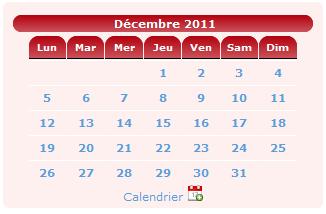 Amélioration des jours de la semaine du mini calendrier du forum de photographie Clic-Clac