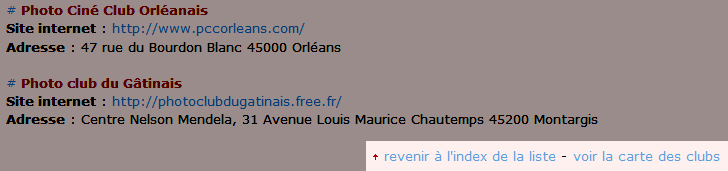Amélioration avec l'ajout de lien dans chaque région pour revenir à l'index ou consulter la carte de localisation sur la liste des clubs photo du forum de photographie Clic-Clac
