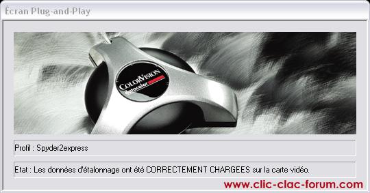 Message au démarrage de l'ordinateur de la sonde ColorVision Spyder2Express de Datacolor