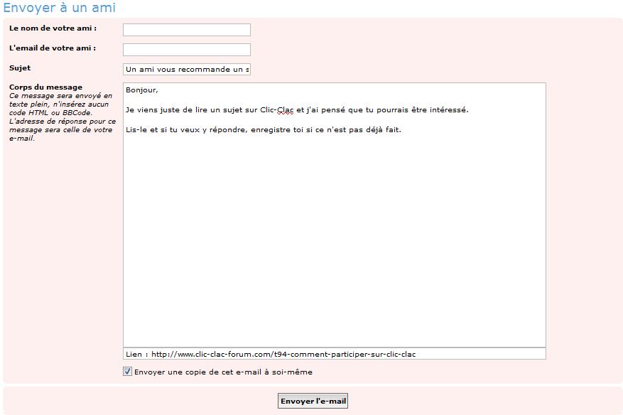 Aperçu du formulaire pour envoyer un sujet par e-mail