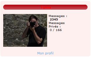 Aperçu du widget du formulaire de connexion sur le portail du forum de photographie Clic-Clac une fois connecté