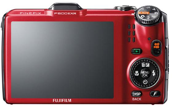 le Fujifilm FinePix F600EXR rouge de dos