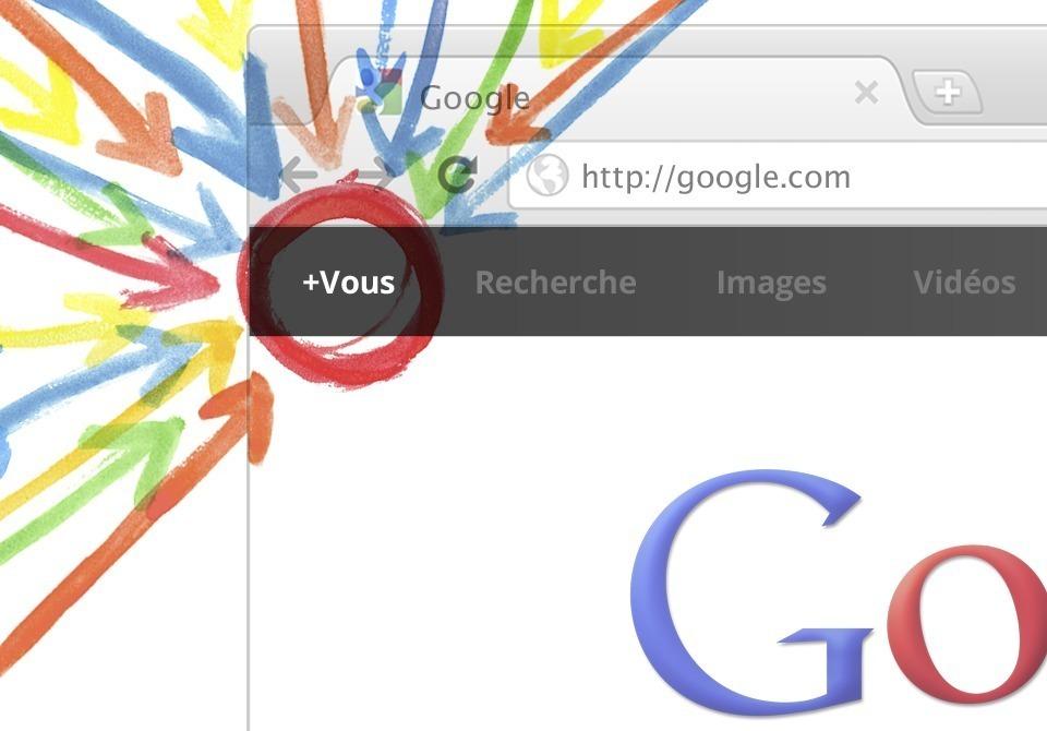 Aperçu du lien vers Google+ dans la barre Google