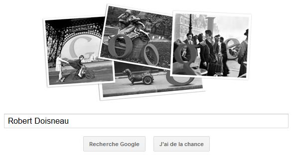 Google rend hommage à Robert Doisneau, un grand photographe en proposant un Doodle le 14 avril 2012 pour le 100ème anniversaire de sa naissance