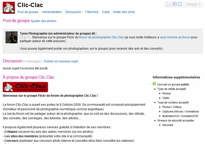 Aperçu du groupe sur la plateforme Flickr du forum de photographie Clic-Clac