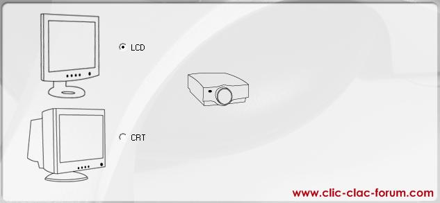 Choix du type d'écran, cathodique ou LCD du logiciel de la sonde ColorVision Spyder2Express de Datacolor
