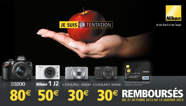Remboursement jusqu'à 80€ sur certains appareils photo Nikon