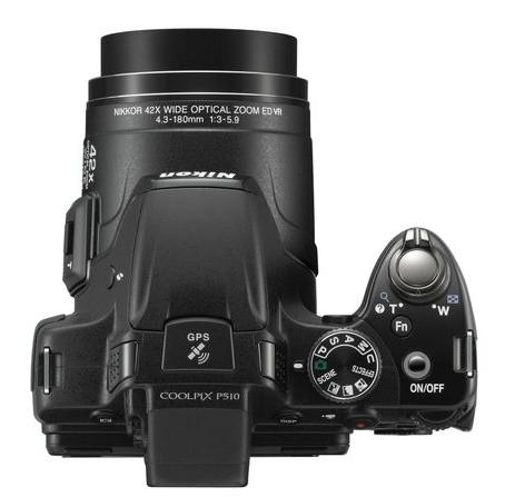 Nikon Coolpix P510 noir de haut