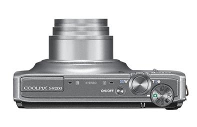 Nikon Coolpix S9200 argent de haut