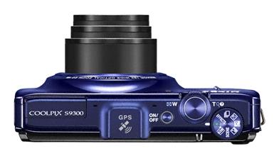 Nikon Coolpix S9300 bleu de haut