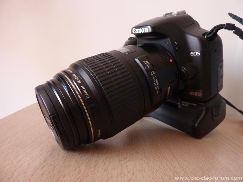 Canon EF 100mm f/2.8 Macro USM sur mon Canon EOS 450D avec Grip
