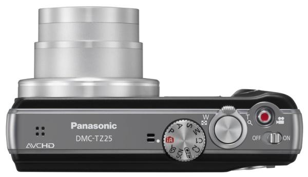Panasonic Lumix DMC-TZ25 noir de haut