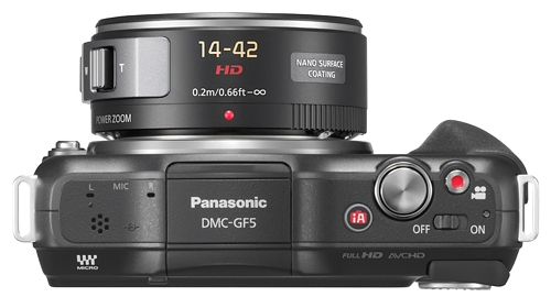 Panasonic Lumix DMC-GF5 noir de haut