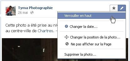 Verrouiller un élément en haut de votre page sur Facebook