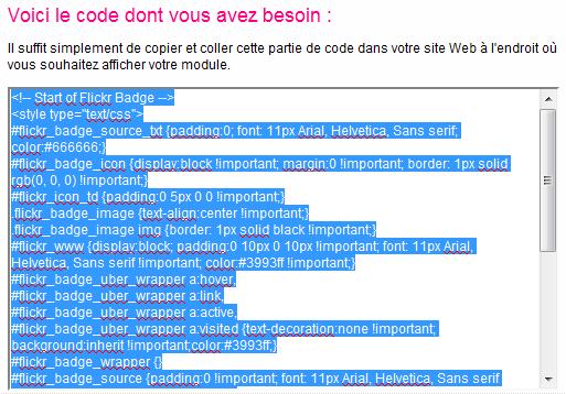 Aperçu du code HTML de votre badge que vous venez de créer sur Flickr