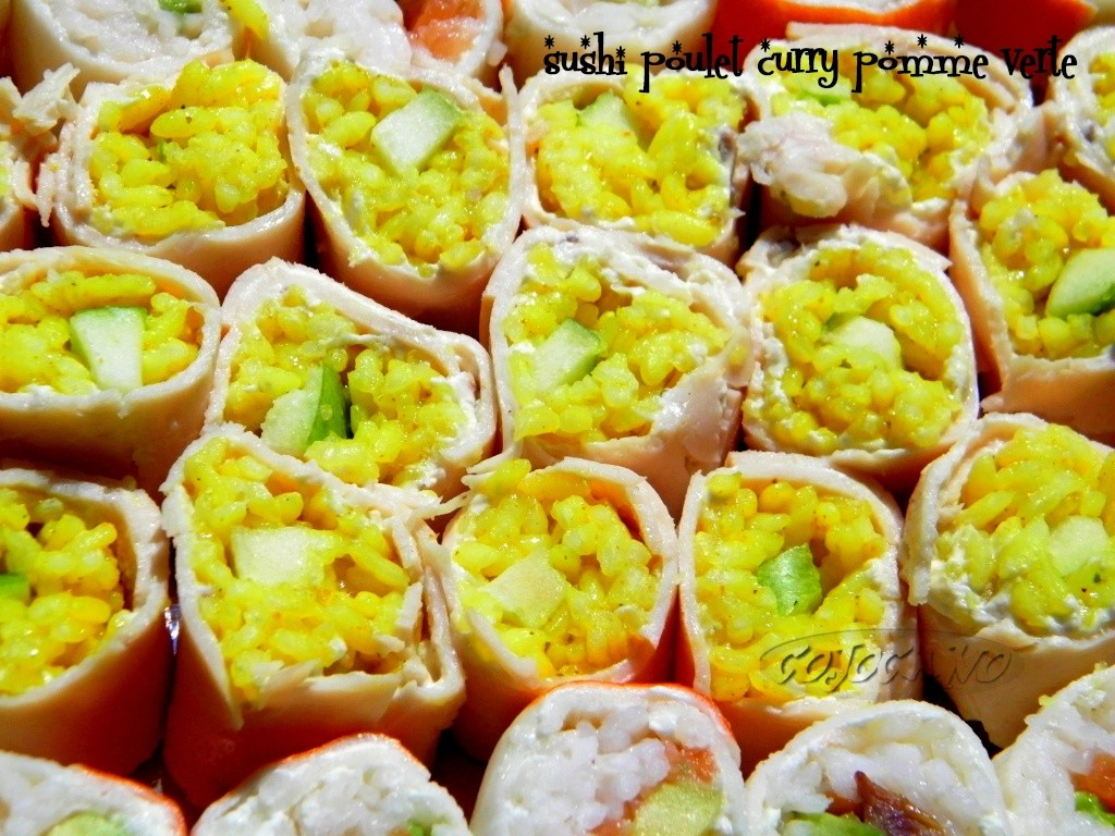 Exceptionnel SUSHI PARTY : sushi poulet curry pomme verte - LES PETITS PLATS  YW11