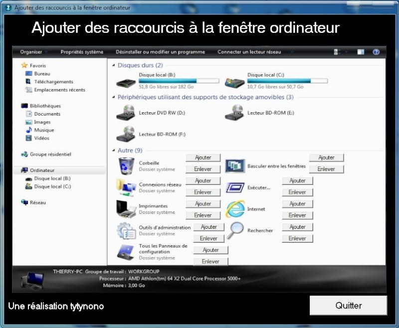 Ajouter des raccourcis dans la fen tre ordinateur for Raccourci clavier agrandir fenetre windows 7