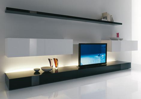 meuble tv long blanc - Meuble Tv Bois Long