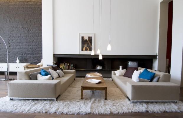 Tessychou pi ce vivre 33m style loft industriel - Idee peinture salon noir et blanc ...