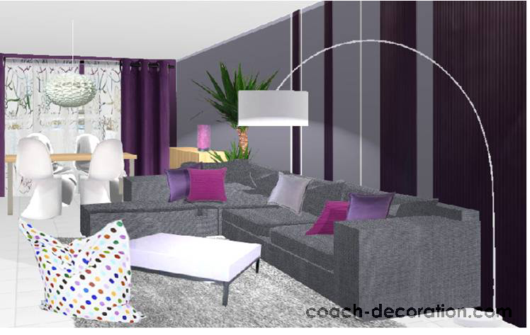 Idee deco salle a manger grise et prune - Idee peinture sejour ...