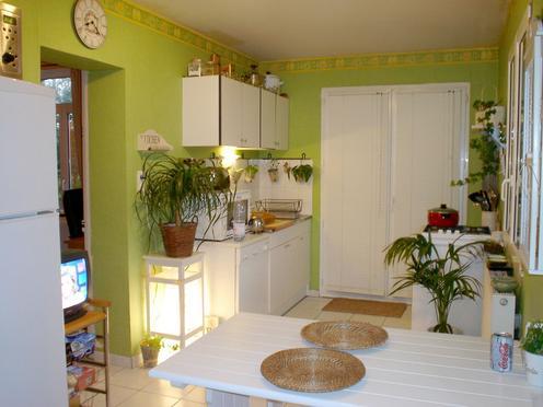 Relooking cuisine avec des carrelages orange terracota for Peinture carrelage vert