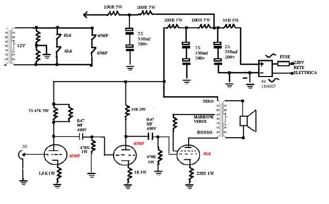 Schema Elettrico Amplificatore Valvolare Per Chitarra : Amplificatore valvolare in kit watt rms classe a pura