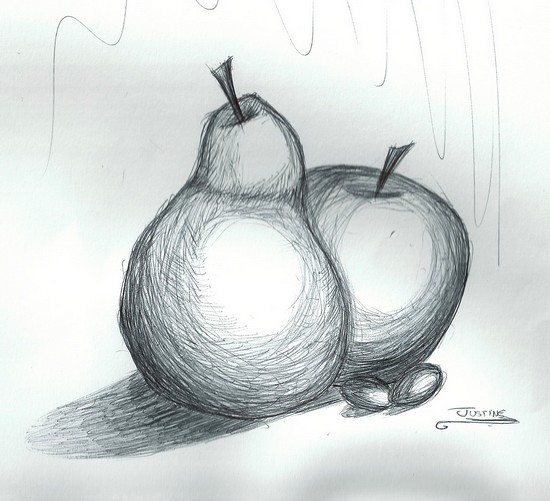 Nature morte fruit justinex3 - Dessin de nature morte ...