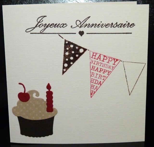 Du rose un cupcake une carte d 39 anniversaire les 2 mains gauches - Carte anniversaire fait main ...