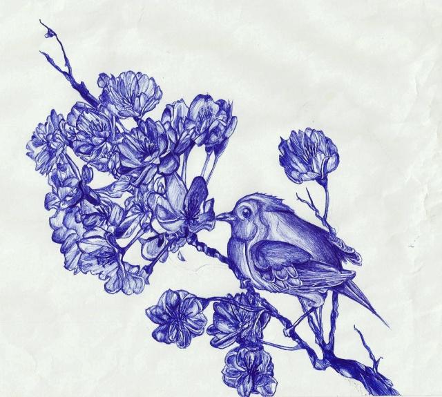 Rouge gorge et cerisier en fleur bic - Cerisier en fleur dessin ...
